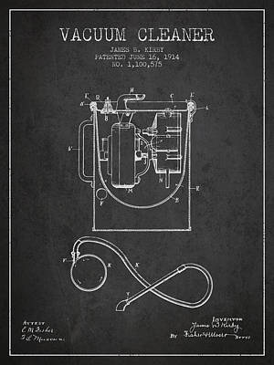 Vacuum Cleaner Patent From 1914 - Charcoal Print by Aged Pixel