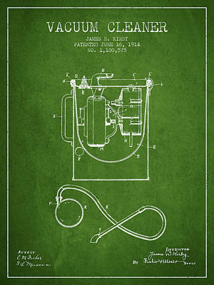 Vacuum Cleaner Patent From 1914 - Green Print by Aged Pixel