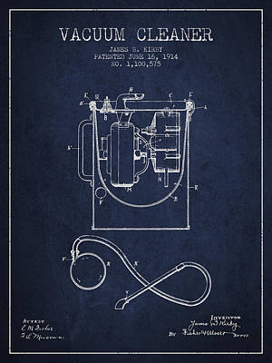 Vacuum Cleaner Patent From 1914 - Navy Blue Print by Aged Pixel
