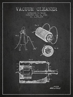 Vacuum Cleaner Patent From 1946 - Charcoal Print by Aged Pixel