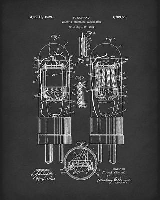 Electronic Drawing - Vacuum Tube 1929 Patent Art Black by Prior Art Design