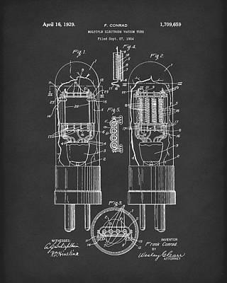 Vacuum Tube 1929 Patent Art Black Print by Prior Art Design