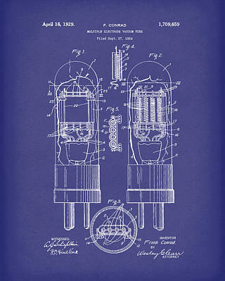 Electronic Drawing - Vacuum Tube 1929 Patent Art Blue by Prior Art Design
