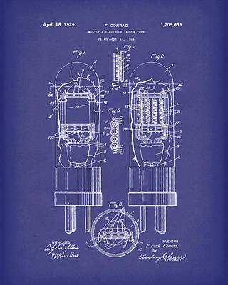 Vacuum Tube 1929 Patent Art Blue Print by Prior Art Design