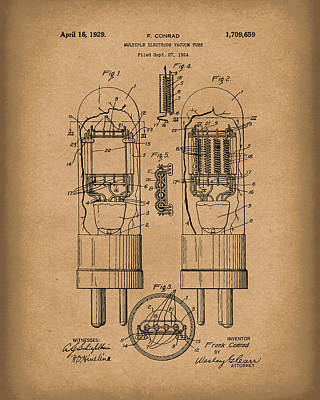 Electronic Drawing - Vacuum Tube 1929 Patent Art Brown by Prior Art Design