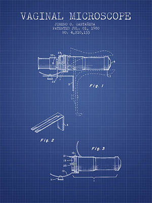 Vaginal Microscope Patent From 1980 - Blueprint Print by Aged Pixel