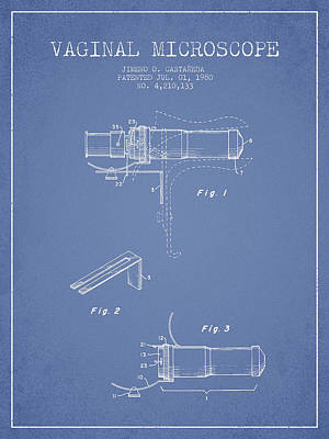 Vaginal Microscope Patent From 1980 - Light Blue Print by Aged Pixel