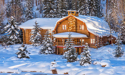 Winter Scenes Photograph - Vail Chalet by Darren  White