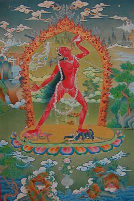 Vajrayogini Of The Sakya Tradition Print by Binod Art School