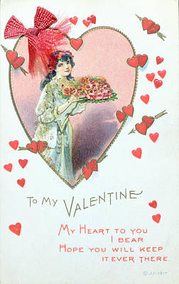 Valentine Card Print by English School
