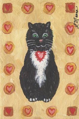 Valentine Kitty Two Print by Linda Mears