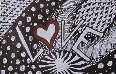Heart Images Painting - Valentine Love Zen Tangle by Sharon Duguay