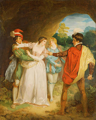 Saviour Photograph - Valentine Rescuing Silvia From Proteus, From William Shakespeares The Two Gentlemen Of Verona, 1792 by Francis Wheatley