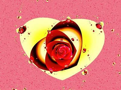 Idea Digital Art - Valentine Rose by Anastasiya Malakhova