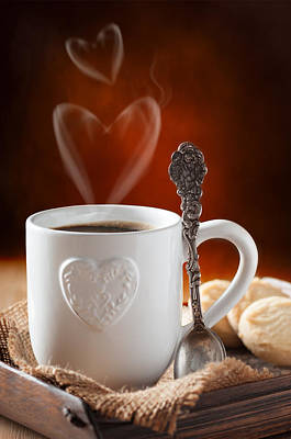 Coaster Photograph - Valentine's Day Coffee by Amanda Elwell