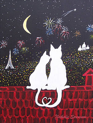 4th Of July Painting - Love In Paris by Nathalie Sorensson