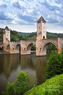 Valentre Bridge In Cahors France Print by Elena Elisseeva