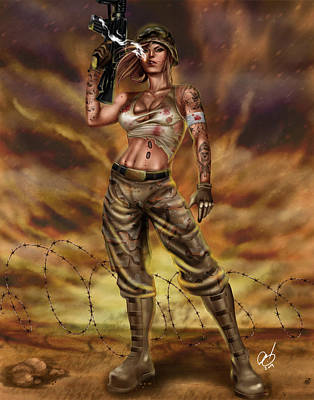 Iraq Drawing - Valkyrie One by Pete Tapang