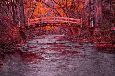 Valley Forge Photograph - Valley Creek Bridge In Autumn by Michael Porchik