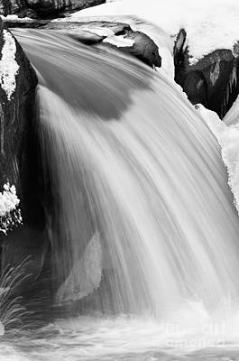 Snow Photograph - Valley Falls D30009153_bw by Kevin Funk