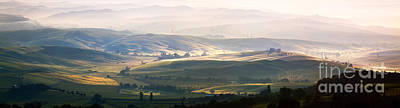 Nature Photograph - Valley Near Montalcino At Sunrise Tuscany Italy by Matteo Colombo