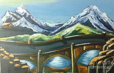 Covered Bridge Painting - Valley_day_light by Artist Nandika Dutt