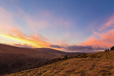 Valleys At Sunset In Wicklow Mountains Print by Semmick Photo