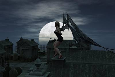 Nosferatu Digital Art - Vampire Full Moon Rising by Nelson Nieves
