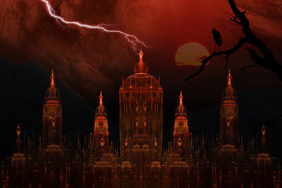 Phil Clark Mixed Media - Vampire Palace by Phil Clark