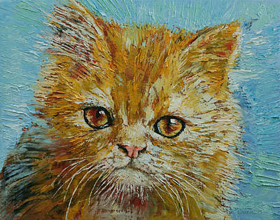 Humorous Cat Painting - Van Gogh by Michael Creese
