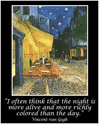Van Gogh Motivational Quotes - Cafe Terrace At Night Print by Jose A Gonzalez Jr