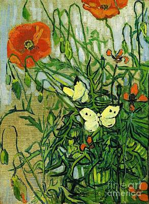 U.s.pd Painting - Van Gogh Poppies And Butterflies by Pg Reproductions