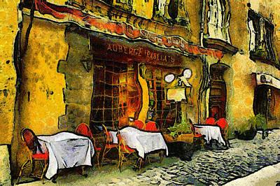 Outside Mixed Media - Van Gogh Style Restaurant by Georgiana Romanovna