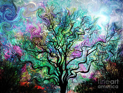 Fantasy Tree Art Painting - Van Gogh's Aurora Borealis by Barbara Chichester
