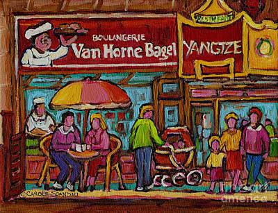 Quebec Streets Painting - Van Horne Bagel With Yangtze Restaurant Montreal Street Scene by Carole Spandau