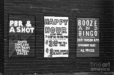 Vancouver Bar Signs Print by John Rizzuto
