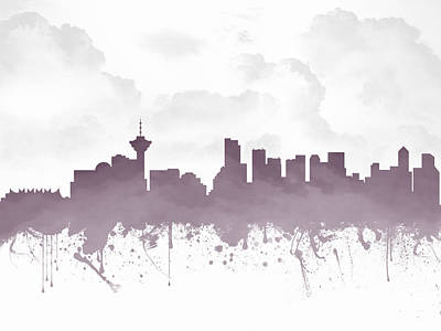 Vancouver Mixed Media - Vancouver British Columbia Skyline - Purple 03 by Aged Pixel