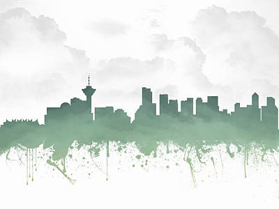 Vancouver Mixed Media - Vancouver British Columbia Skyline - Teal 03 by Aged Pixel