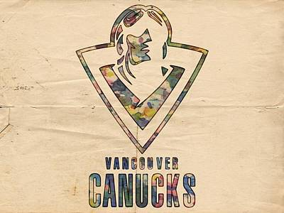 Hockey Painting - Vancouver Canucks Vintage Poster by Florian Rodarte