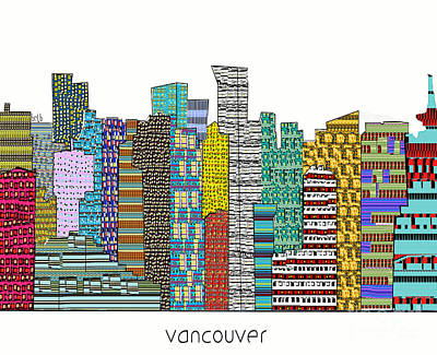 Vancouver Mixed Media - Vancouver City Skyline  by Bri B