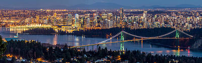 Vancouver City With Lions Gate Bridge At Twilight Print by Pierre Leclerc Photography