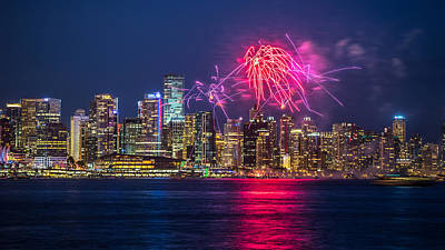 Vancouver Fireworks Graffiti  Print by Pierre Leclerc Photography