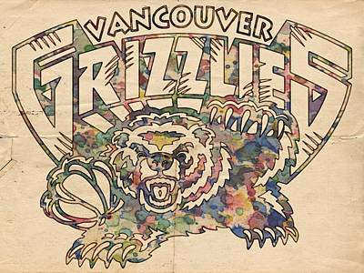 Basketball Painting - Vancouver Grizzlies Retro Poster by Florian Rodarte