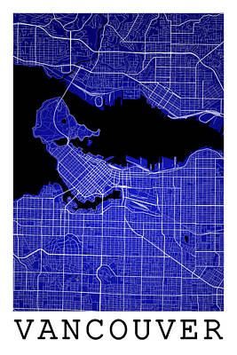 Vancouver Digital Art - Vancouver Street Map - Vancouver Canada Road Map Art On Colored  by Jurq Studio