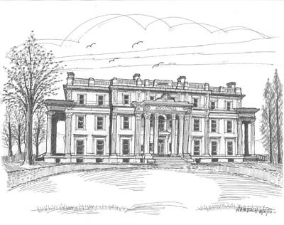 Hyde Park Drawing - Vanderbilt Mansion by Richard Wambach