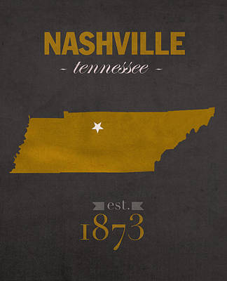 Nashville Tennessee Mixed Media - Vanderbilt University Commodores Nashville Tennessee College Town State Map Poster Series No 118 by Design Turnpike
