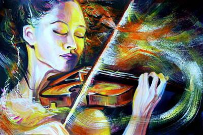 Vanessa-mae.power Of Music Print by Anna  Duyunova