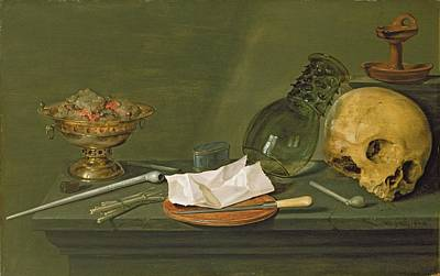 Wine Glasses Painting - Vanitas, 1628 by Willem Claesz. Heda