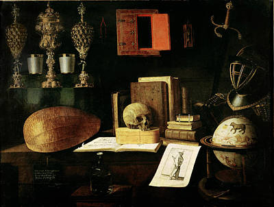 Mandolin Photograph - Vanitas Still Life, 1641 Oil On Canvas by Sebastian Stoskopff