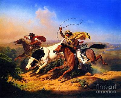 Roping Horse Painting - Vaqueros Roping A Steer by Pg Reproductions